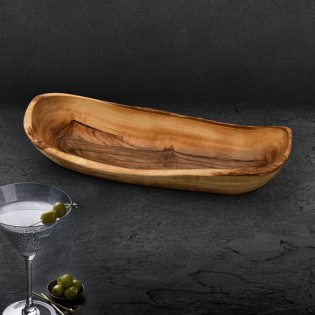 Oliven- oder Baguetteschale aus Olivenholz im Naturschnitt ca. 30cm